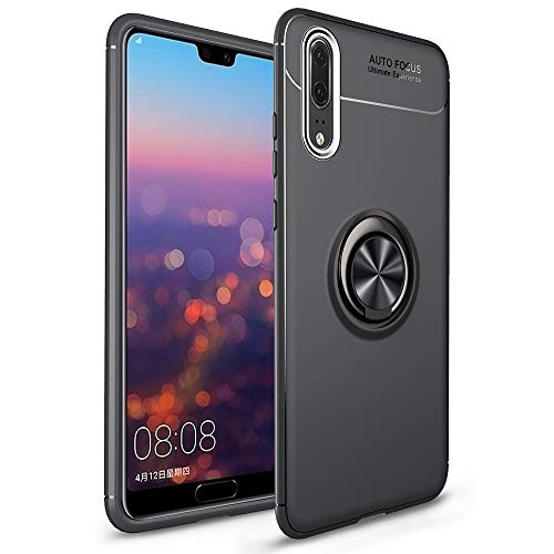 NALIA Funda con Anillo Compatible con Huawei P20 Pro, Protectora Carcasa con Soporte Movil Coche Magnetico con 360° Kickstand, Fina Ring-Case Cover Cubierta Bumper Dura Smart-Phone Estuche - Negro