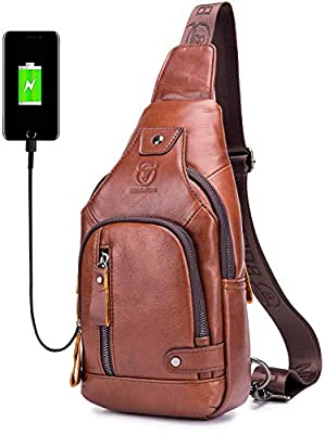 Men's Sling Bag,Mens Genuine Leather Chest Bags Casual Shoulder Bag Vintage Crossbody Travel Hiking Backpacks Daypacks with USB Charging Port