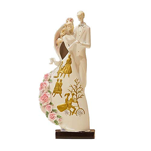 Comfortable Home Modern Wedding Couple Resin Sculpture, Statue Decoration New Wedding The Name of The Groom and The Bride Can Be Printed Wedding Gift Furniture Decoration 30Cm High
