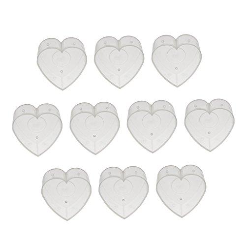 Fenteer 10er Pack Teelichthüllen leer für Teelichter Teelichthalter Weihnachten - Herz 4x2cm