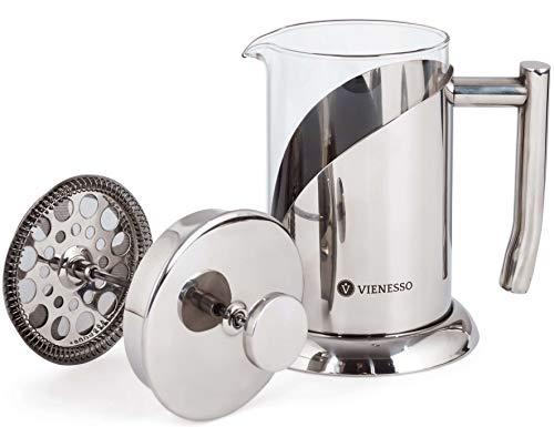 VIENESSO French-Press aus Glas und Edelstahl im edlen Design (0,8 Liter | 4 Tassen) | Kaffee-Presse inkl. 2 Ersatzfilter - Kaffeebereiter für zu Hause, Kanne + Barista E-Book