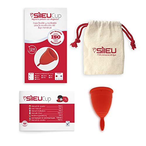 Copa Menstrual Sileu Cup Classic - Alternativa ecológica y natural a tampones y compresas - Bolsa de regalo - Talla L, Rojo