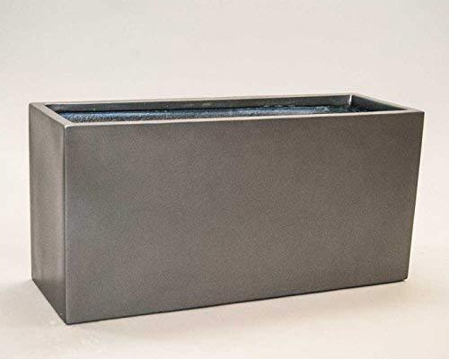 Pflanztrog Blumentrog Raumteiler Fiberglas rechteckig LxBxH anthrazit metallic 80x30x40cm