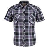Coevals Club Men's Western Cowboy Short Sleeve Pearl Snap Casual Plaid Work Shirts (Purple Black #1 2XL)