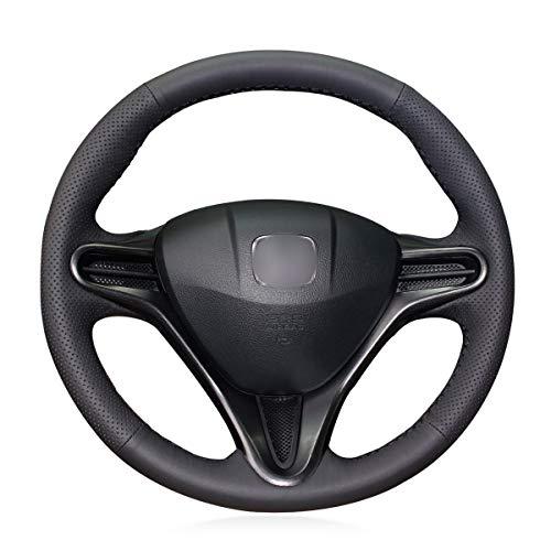 Brillante grano Nero Pelle Artificiale Cucire A Mano Auto Volante Copertura per Honda Civic 8 Civic 2006 2007 2008 2009 2010 2011 (3 Raggi)