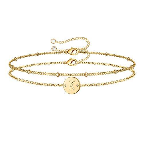 MONOZO Gold Initial Bracelets for Women, Dainty 14K Gold Filled Layered Beaded K Letter Initial Bracelet Personalized Alphabet Disc Monogram Charm Bracelet Jewelry Gifts for Girls