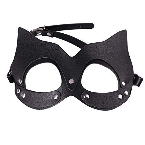 Exceart Leather Eye Mask Sexy Adjustable SM Face Mask Blindfold Costume Props for Lovers Adults Couple Men Women (Black)