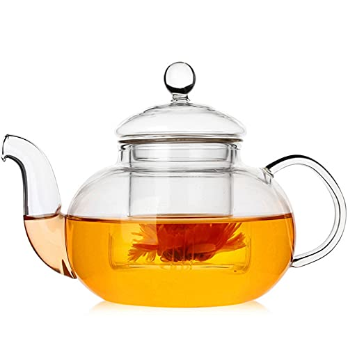 BAIYA Glass Teapot,Stovetop Safe Glass Tea Kettle with Stainless Steel Infuser,for Tea and Coffee,Borosilicate Tea Pot for Loose Tea (1000ML)
