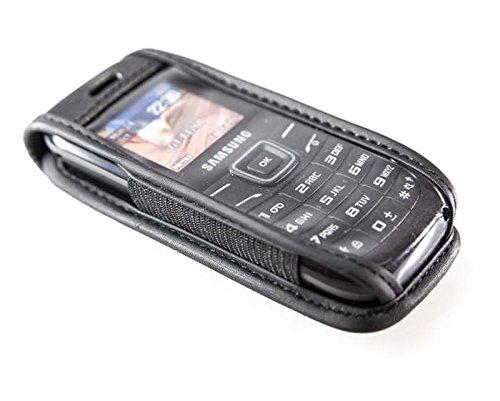 Preisvergleich Produktbild caseroxx Handy Hülle Ledertasche mit Gürtelclip für Samsung GT E-1200 Keystone 2 aus Echtleder,  Handy Tasche mit Gürtelclip und Sichtfenster aus schmutzabweisender Klarsichtfolie in schwarz