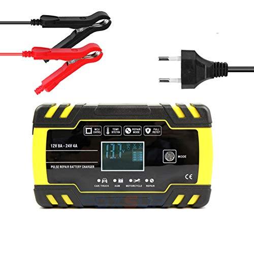 NCBH Cargador baterias Coche Cargador arrancador baterias Coche 12 V 24 V 8 A Smart Cargador de batería de Plomo ácido con 3 etapas de Carga para Coche/Moto/ATV/RV/Barco,Amarillo,US
