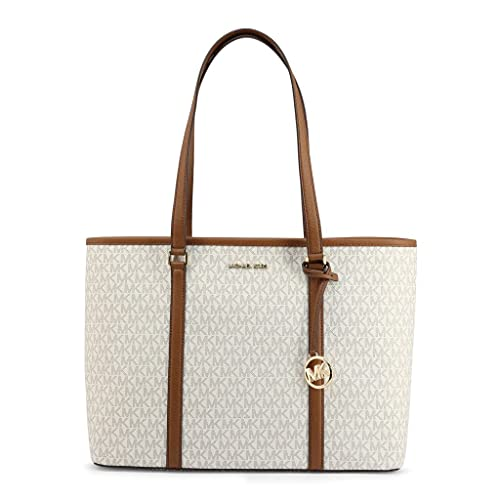 Made of PVC; Top zip for closure; MK detachable charm; Large compartment with 1 side pocket; 1 back slip pocket; 3 inside slip open pockets; MK gold logo charm Double flat leather shoulder strap of 10.5 Inches drop Gold hardware Measurements: Length:...
