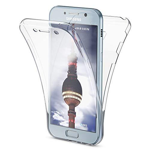 NALIA Funda 360 Grados Compatible con Samsung Galaxy A3 2017, Delantera Trasera Protectora Movil Silicona Carcasa, Ultra-Fina Transparente Doble Cubierta Goma Bumper Cover Case, Color:Transparente