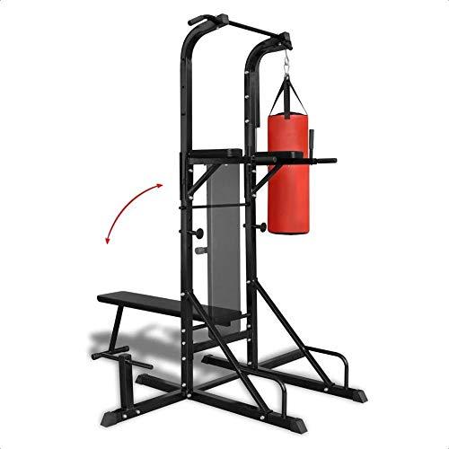 Wetiny Fitness - Torre de fuerza con banco de entrenamiento y saco de boxeo