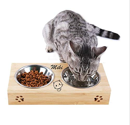 YTFAIFEN - Ciotola per cani e conigli, in legno per animali domestici, singolo e due contenitori in metallo, personalizzazione del nome dell'animale domestico (ciotola per gatti, due ciotole)