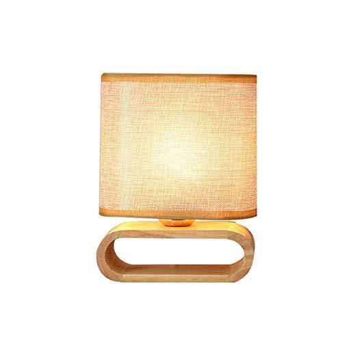 SYyshyin Lámpara De Sobremesa Ovalada De Madera De Caucho Tejido De Lino Lámpara De Mesita De Noche De Estilo Japonés Nórdico