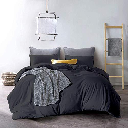 Precious Star Linen Hotelqualität, Fadenzahl 800, ägyptische Baumwolle, 3-teiliges Bettbezug-Set mit Reißverschluss & Eckbändern (Full/Queen (228,6 x 228,6 cm), dunkelgrau)