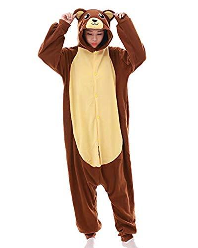 QFULFUN Adulte Unisexe Animal Costume Cosplay Ours Brun Kigurumi Pyjama Onesie Combinaison Outfit...