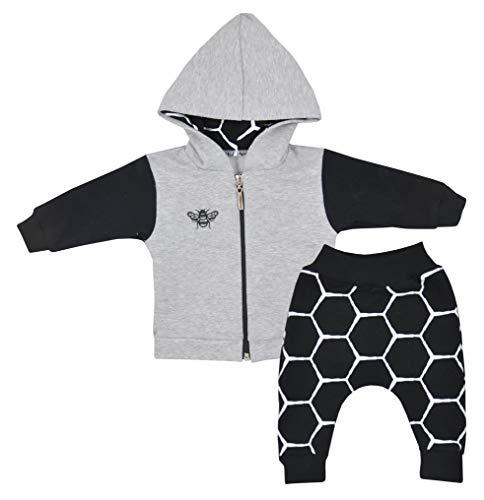 Fifiloo Baby - Jungen 2er Babyset Bluse / Hose für Jungen und Mädchen Bekleidungsset, Grau (Grau Biene), 74 (9 Monate)