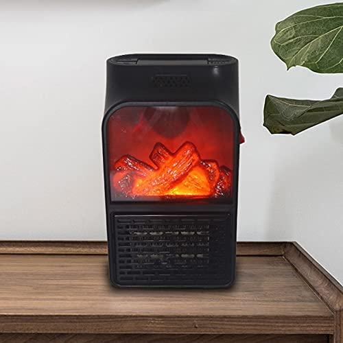 YxnGu Kleiner tragbarer Heizgerät-keramischer Raum elektrischer Heizventilator 900W Thermostatsteuerungskaminheizung mit realistischen Flammen (Color : Black)