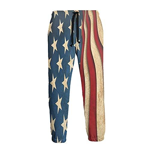 Olverz Pantalones de chándal para hombre, bandera americana, cintura elástica, pantalones deportivos duraderos