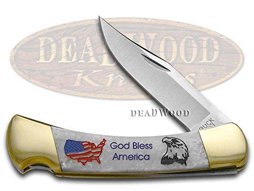 Buck 110 God Bless America White Pearl Custom Corelon Folding Hunter Stainless Pocket Knife