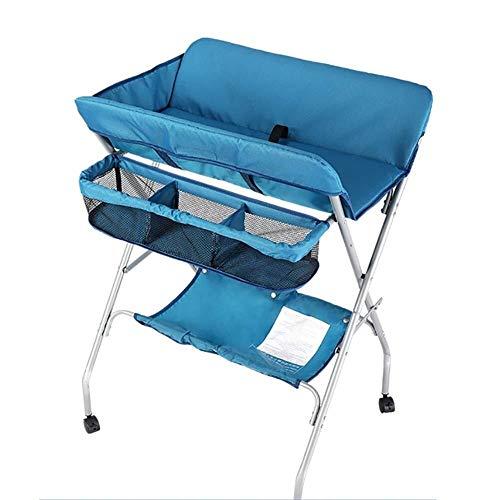 Babycommode Commode met Wheels & Storage Bag, Folding Diaper Station for Infant Pasgeboren Peuter, Portable Nursery Organizer Babyverzorging tafel (Color : Blue)