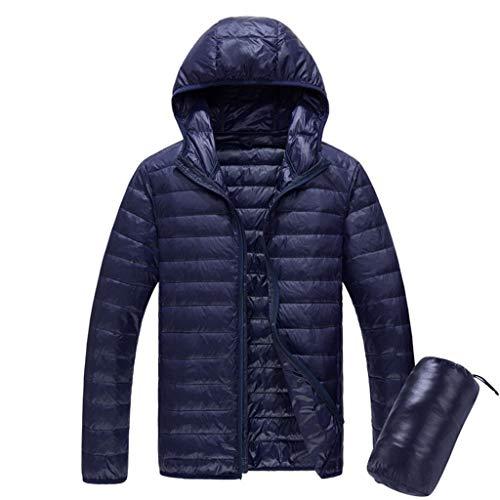 Heren gewatteerde jas met capuchon, waterbestendige Puffer Down Jacket, Lichtgewicht, Warm, voor reizen, wandelen in de herfst, Winter M marineblauw