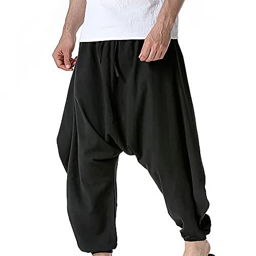 Haremshose Herren   100% Baumwol le  Lose Freizeithose Aladinhose Goa Hose Sommerhose mit Taschen Loose Pumphose Hippie Große Größe Fit Sporthose Bequeme Atmungsaktiv