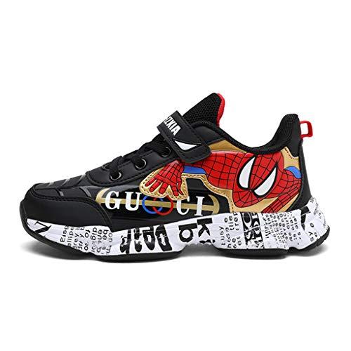 YUANY Spiderman pour Enfants Cartoon garçons Chaussures de Sport résistant à l usure Chaussures de Course étanche Damping,Black-26 EU