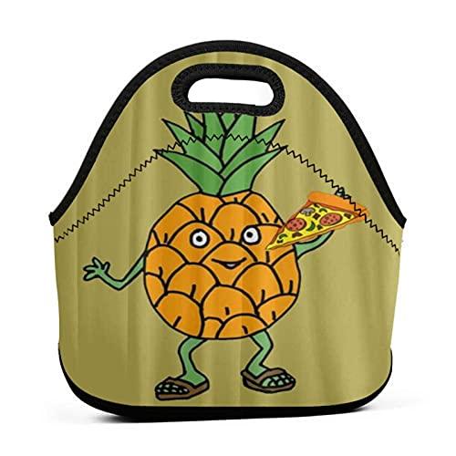 ADONINELP Sac à lunch fourre-tout portable,pochette à bento,pizza à l'ananas,néoprène avec emballage à fermeture éclair pour sac à main de voyage de bureau de travail scolaire