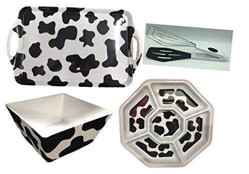 Set of 4 Rectangular Serving Tray, Square Bowl, Nut Plate, Melamine and 1 Kitchen Serving Tongs