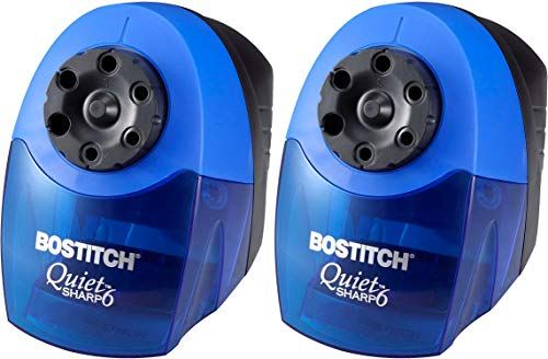 Bostitch QuietSharp 6 Heavy Duty Classroom Electric Pencil Sharpener, 6-Holes, Blue (EPS10HC) 2 Pack