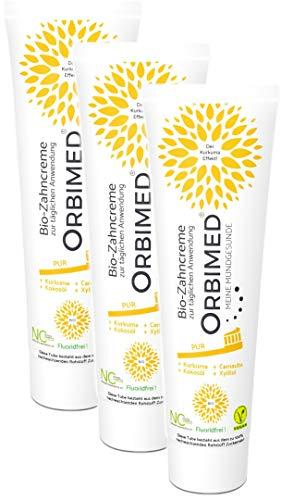 ORBIMED Bio-Zahncreme PUR, zur täglichen Anwendung, Set mit 3 Tuben á 75 ml (PUR), zertifizierte Naturkosmetik-Zahnpasta, vegan