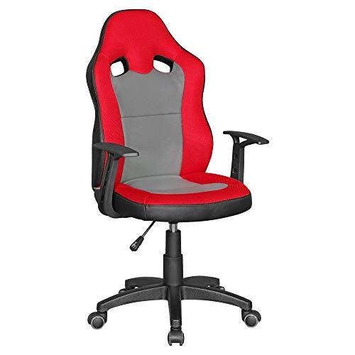 Amstyle Speedy Chaise de Bureau pour Enfants à partir de 8 Ans Rouge/Gris