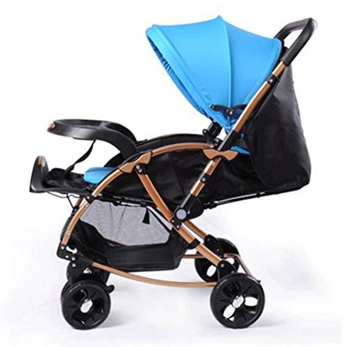 Cochecito de bebé Cochecito de bebé Cochecito de paseo, Cochecito de bebé plegable antichoque con vista alta, Arnés de 5 puntos y Cesta de gran capacidad (Color: Azul)