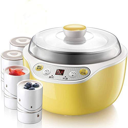 Yarmy Máquina de yogurtera eléctrica pequeña de acero inoxidable con temporizador, pantalla...