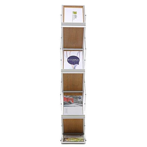 Loywe Prospektständer 6 Ebenen Faltbar, Holz-Design mit Aluminum Rahmen, mit Tragtasche, Prospekthalter Katalogständer Flyerständer Infoständer JL3523