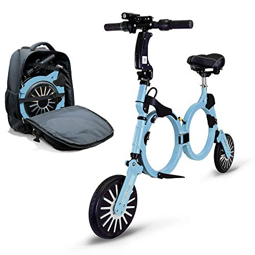 Jupiter Bike DLX - Smallest Folding Electric Bicycle Ebike Scooter with 10 Mile Range, 15 Mph Speed - 240w Hub Motor (Lt Blue)