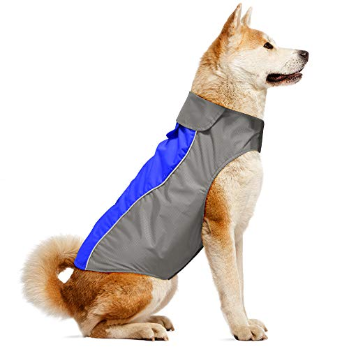 Dog Jacket and Reflective Dog Coat Sport Vest, Warm and Comfortable Clothes - 6 for Small Medium Large Dogs by Vizpet (Blue-L)