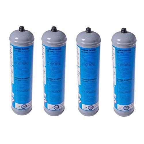 4 BOMBOLE CO2 USA E GETTA 600 Grammi E290 ALIMENTARE PER GASATORI ACQUA ATTACCO 11 x 1 DIMENSIONI.BOMBOLA DN 70 MM H 325...