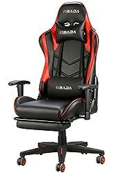 Hbada Gaming Stuhl Racing Stuhl Bürostuhl Chefsessel ergonomischer Drehstuhl Computerstuhl Kunstleder mit Fußstütze mit Kopfstütze und Ledenkissen Rot