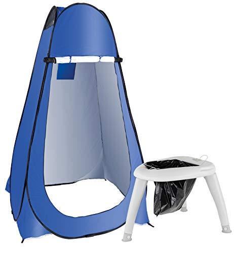 Stagecaptain Quixie Privacy Toilet Set - Festival- und Reisetoilette mit Sichtschutz-Zelt - Für Kinder und Erwachsene - Mit Handwaschsprayer - Inklusive 10 Auffangbeutel - Blau