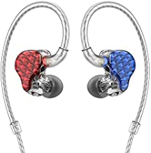 FiiO FA7 Best Over The Ear Headphones/Earphones Detachable Cable Design HiFi Quad Balanced Armature Driver in-Ear Monitors for iOS and Android Computer PC Tablet(Blue(L) and Red(R)-Clear Abstract