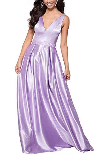 HUINI Ballkleider Vintage Lang Abendkleid Hochzeit Damen Cocktailkleider Abiballkleid Satin Festkleid V-Ausschnitt A-Linie Lila 38