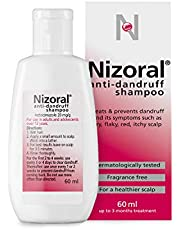 Nizoral Anti-dandruff Shampoo, Treats and Prevents Dandruff, Suitable for Dry Flaky and Itchy Scalp, Contains Ketoconazole - 60ml