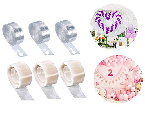 Guizu 3 Rollos Globos Cinta Adhesiva Decorativa 3 Rollos Tira para Globos Pegamento para plastico,Manualidades Cintas Adhesivas Decorativas, niños de cumpleaños Decoracion Globo