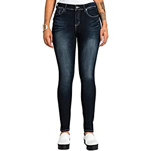 Poetic Justice Women's Curvy Fit Denim Blasted Five Pockets Midrise Skinny Jeans
