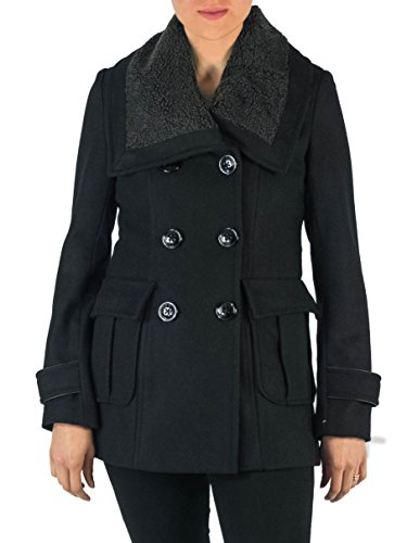 Miss Sixty M60 Sherpa Collar Peacoat Black Wool (M)