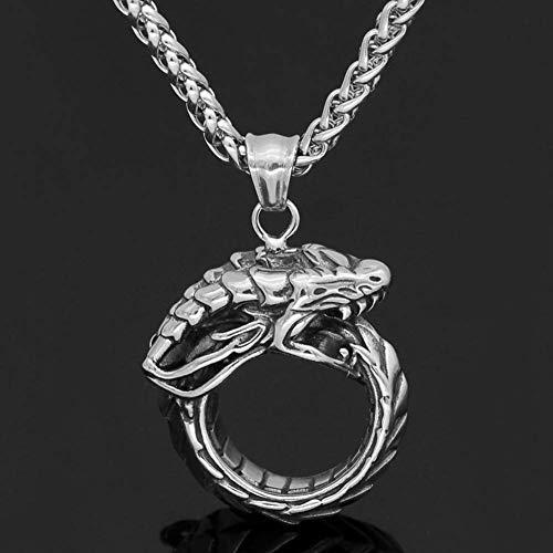 Hombres Viking Nacklace, Noruego de Acero Inoxidable Norse Dragon Jormungand Runas Colgante Amuleto, Unisex Celtic Pagan Animal Snake Jewelry