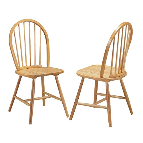 Giantex Set of 2 Windsor Chairs, Country Wood Chairs, Vintage Armless Dining Room Furniture, Nostalgia Arrow Back Dining Chairs, Oak (2)